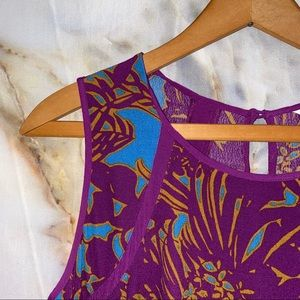 Cabi size small tunic magenta and turquoise print
